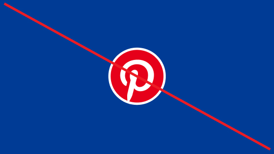 Strike-through of a white Pinterest logo circled in red on a navy blue background