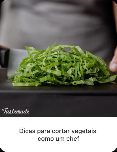 Última foto de vegetais verdes fatiados com texto descritivo