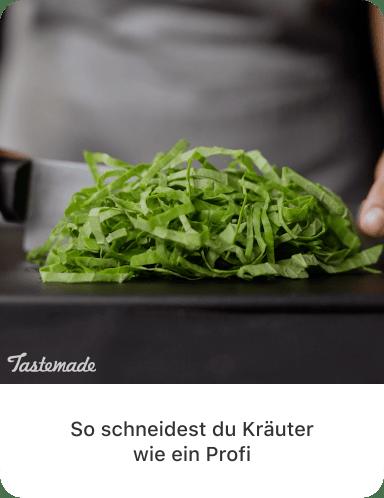 """Letzte Aufnahme von geschnittenem Gemüse mit Textbeschreibung """"So schneidest du Gemüse wie ein Profi"""""""