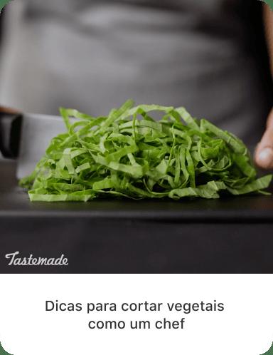 """Última foto de vegetais verdes fatiados com texto descritivo: """"Dicas para cortar vegetais como um chef"""""""