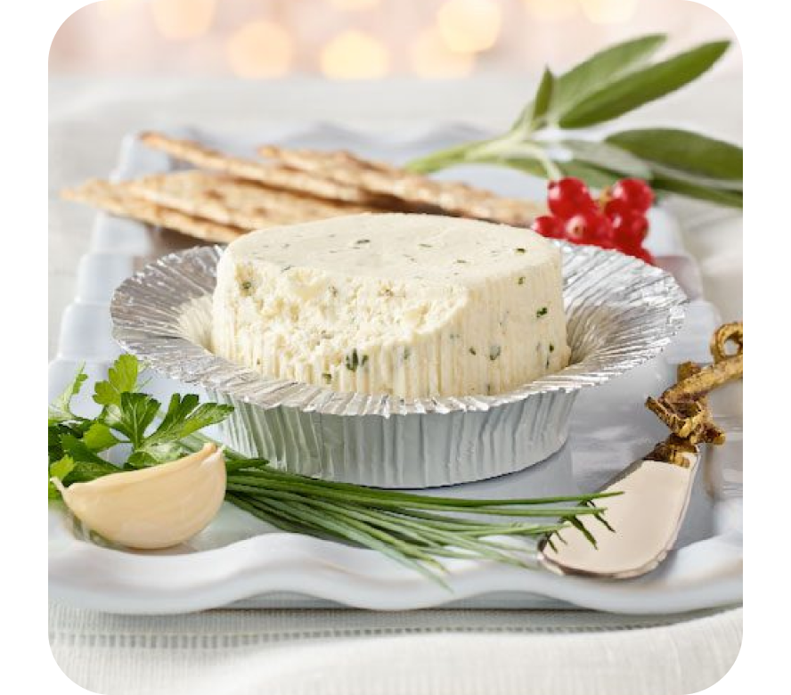 Boursin cheese with crackers and Boursin logo