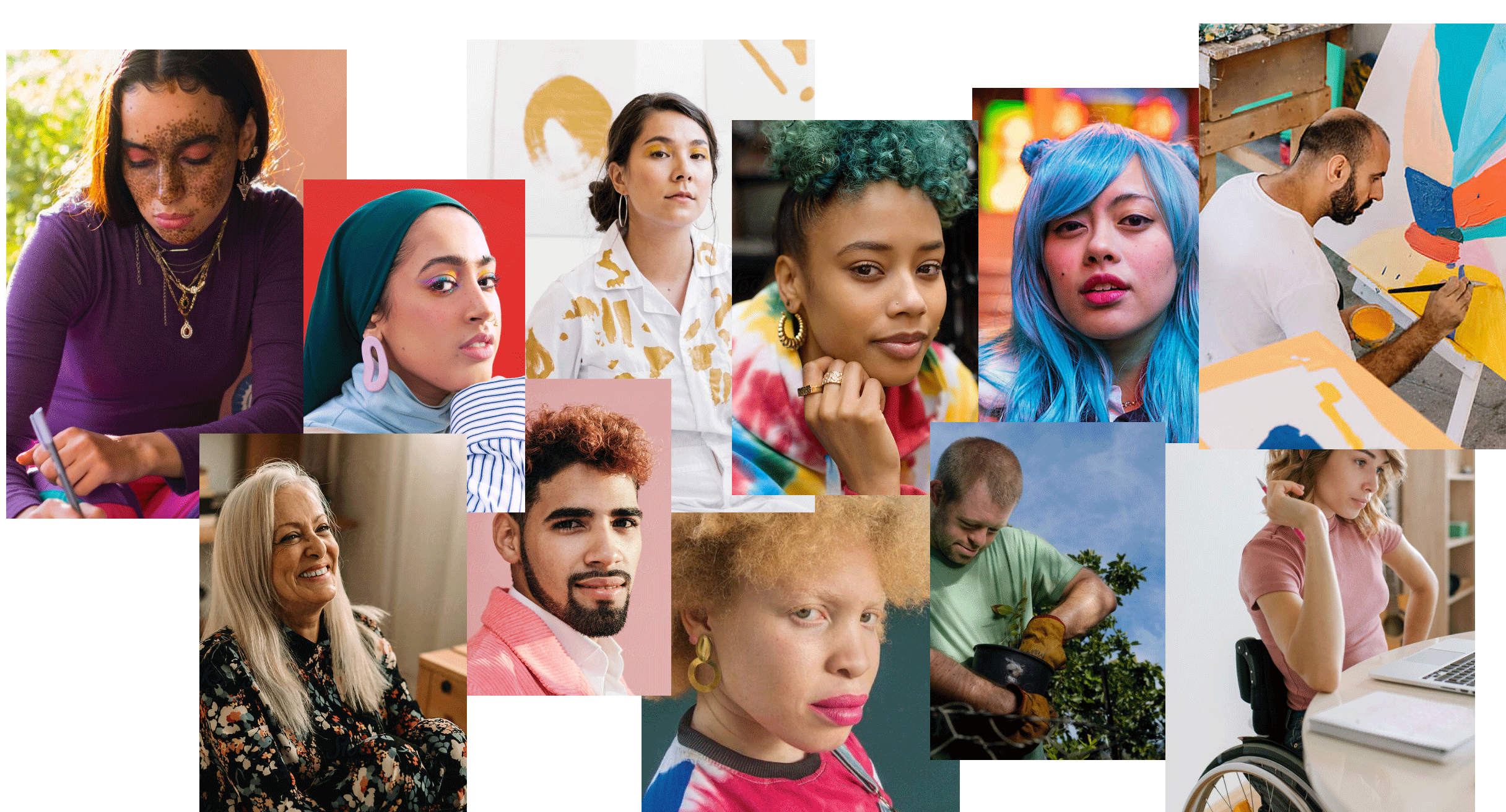 A collage of people depicting diverse races, ethnicities, genders, ages and abilities