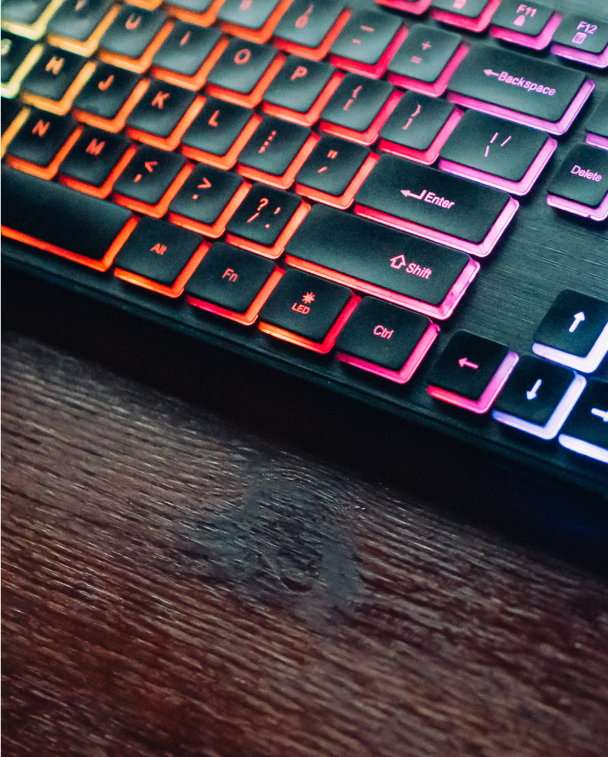 Keyboard that lights up with rainbow colors