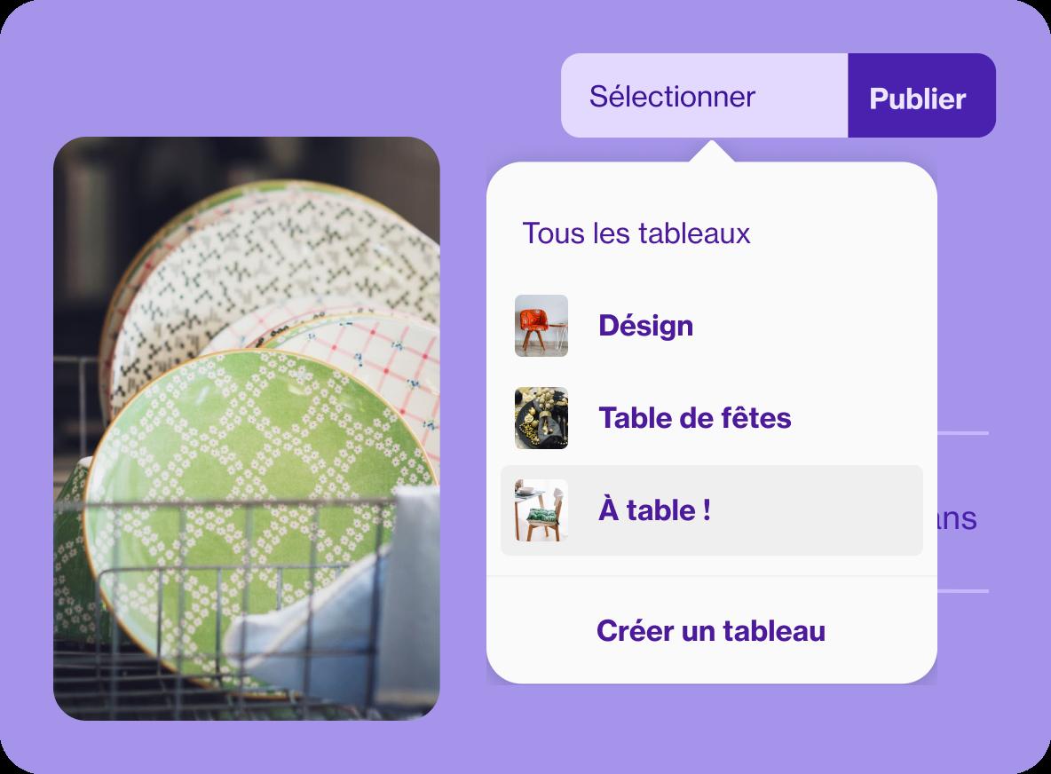 Interface utilisateurs pour la création d'Épingles