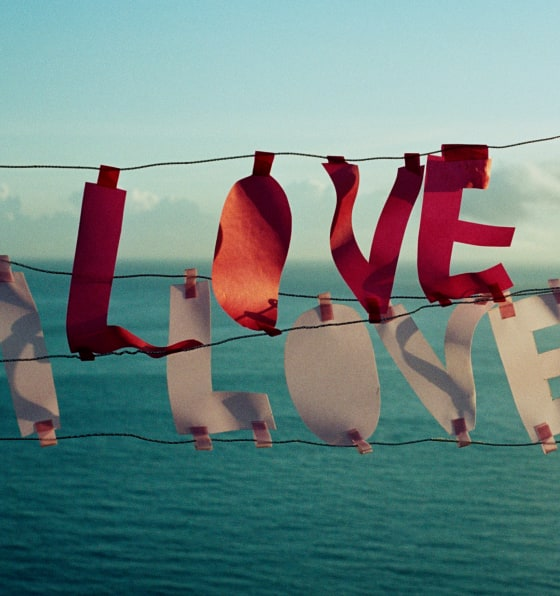 "Festive banner with letters that spell out ""LOVE"" in front of the ocean and a skyline"