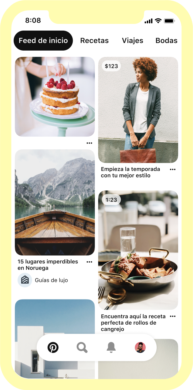 Images in a Pinterest homefeed