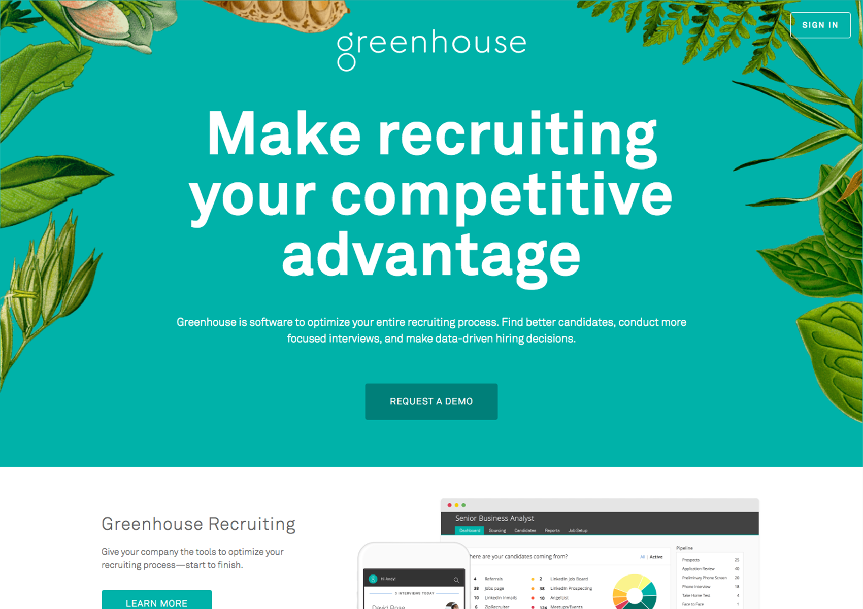 Greenhouse Website Screenshot