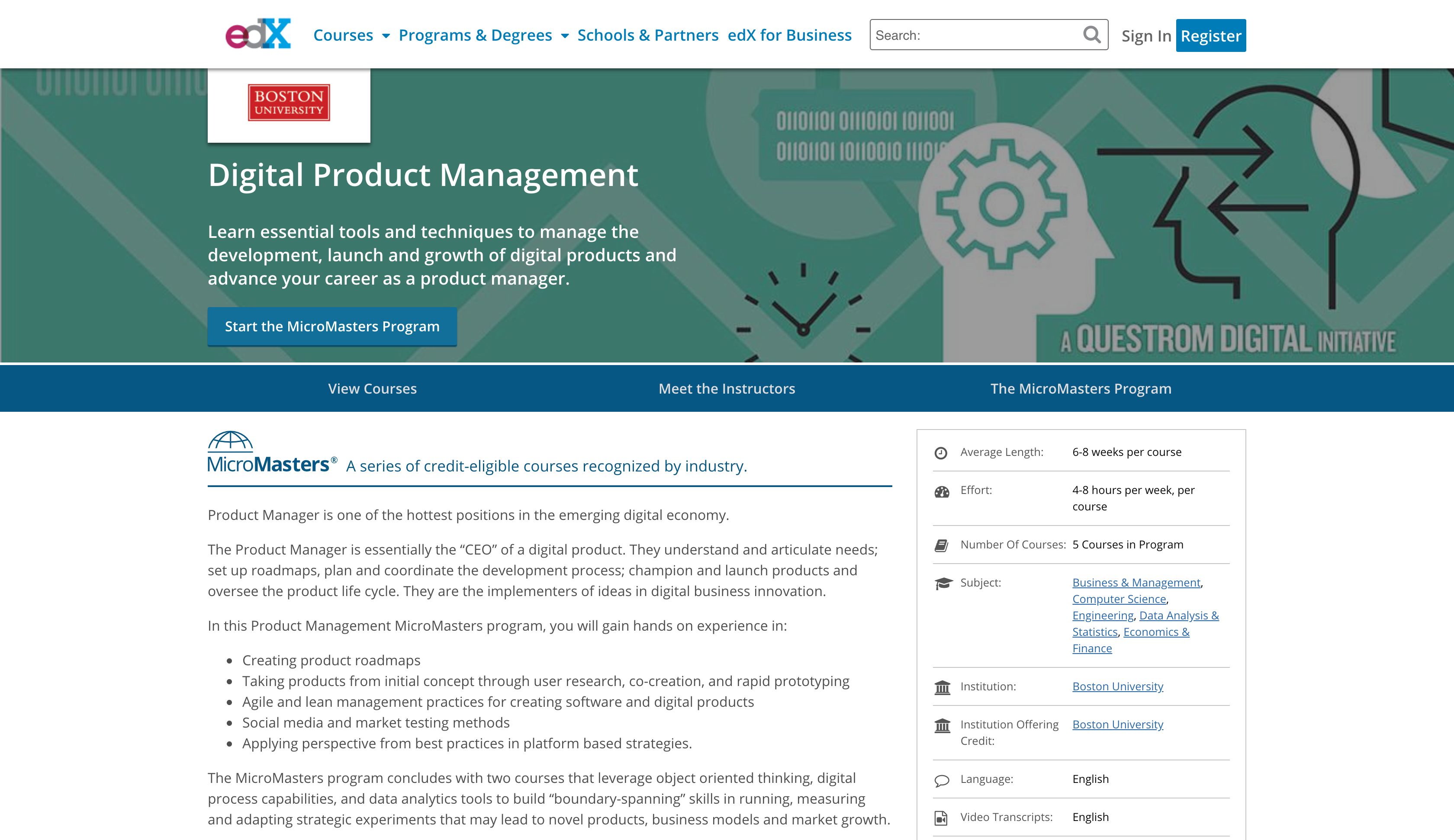 Digital Product Management Certification by Boston University