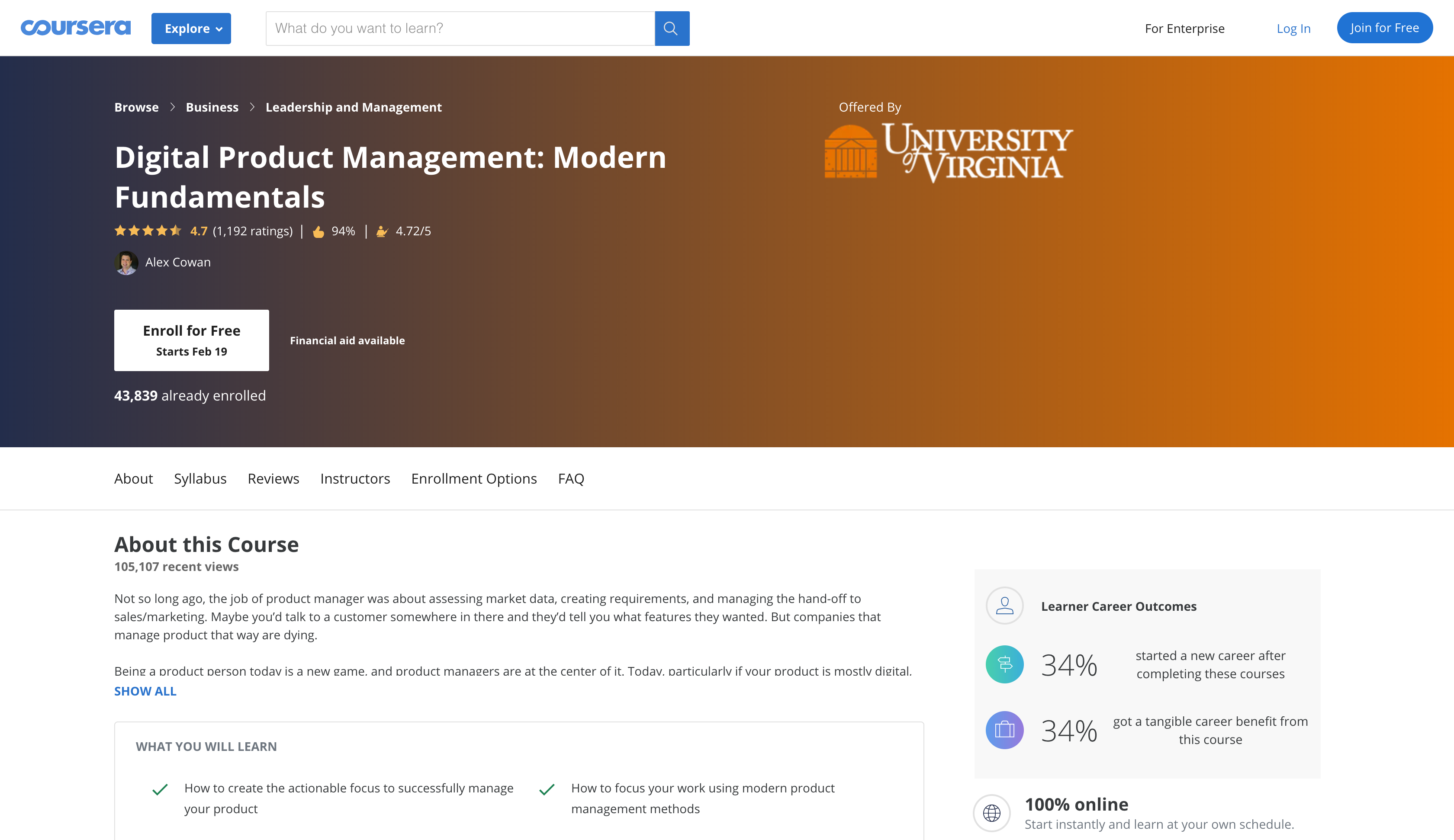 Digital Product Management Certification: Modern Fundamentals by University of Virginia (Coursera)