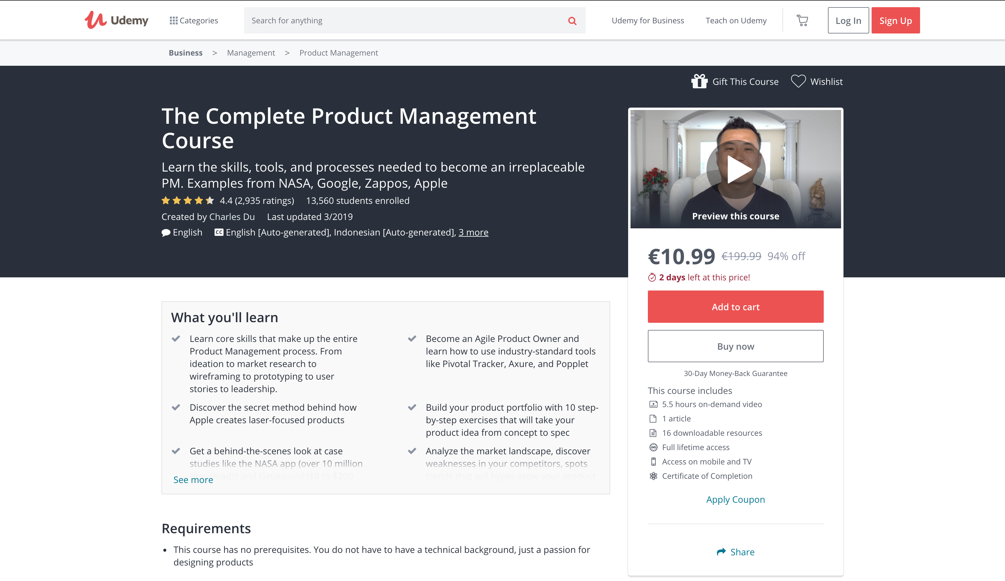 The Complete Product Management Course (Udemy)