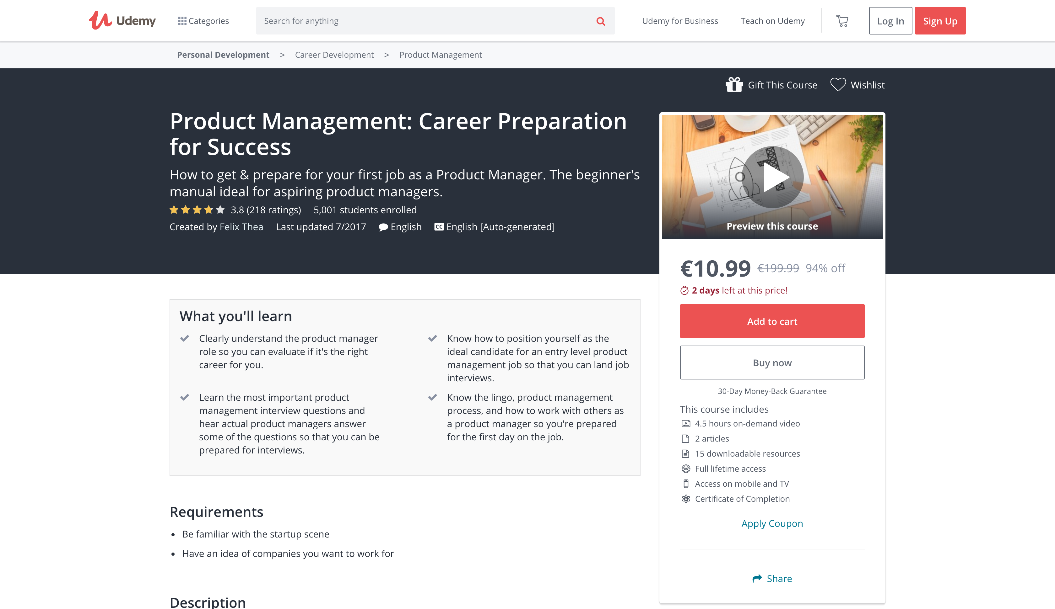 Product Management: Career Preparation for Success (Udemy)