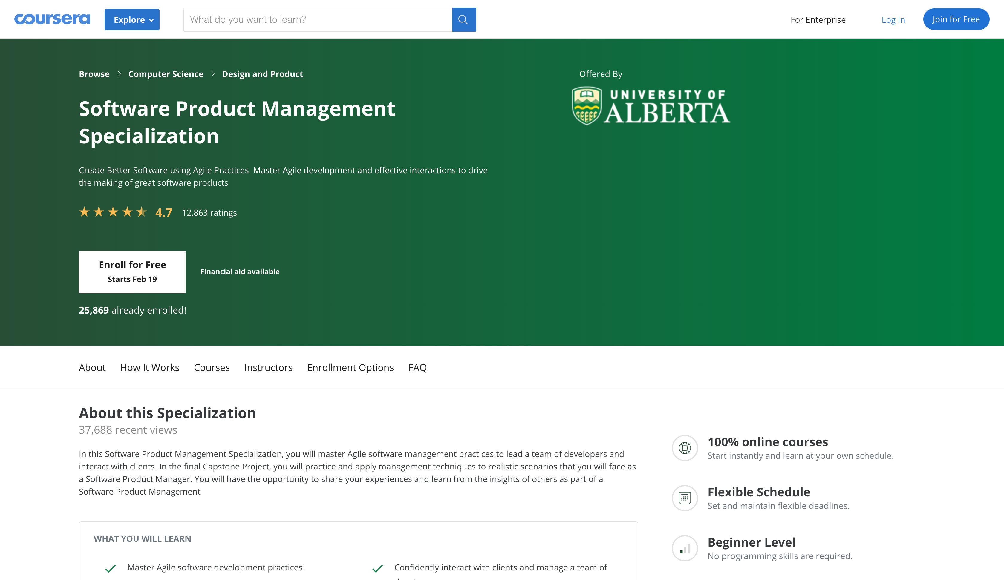 Software Product Management by University of Alberta (Coursera)
