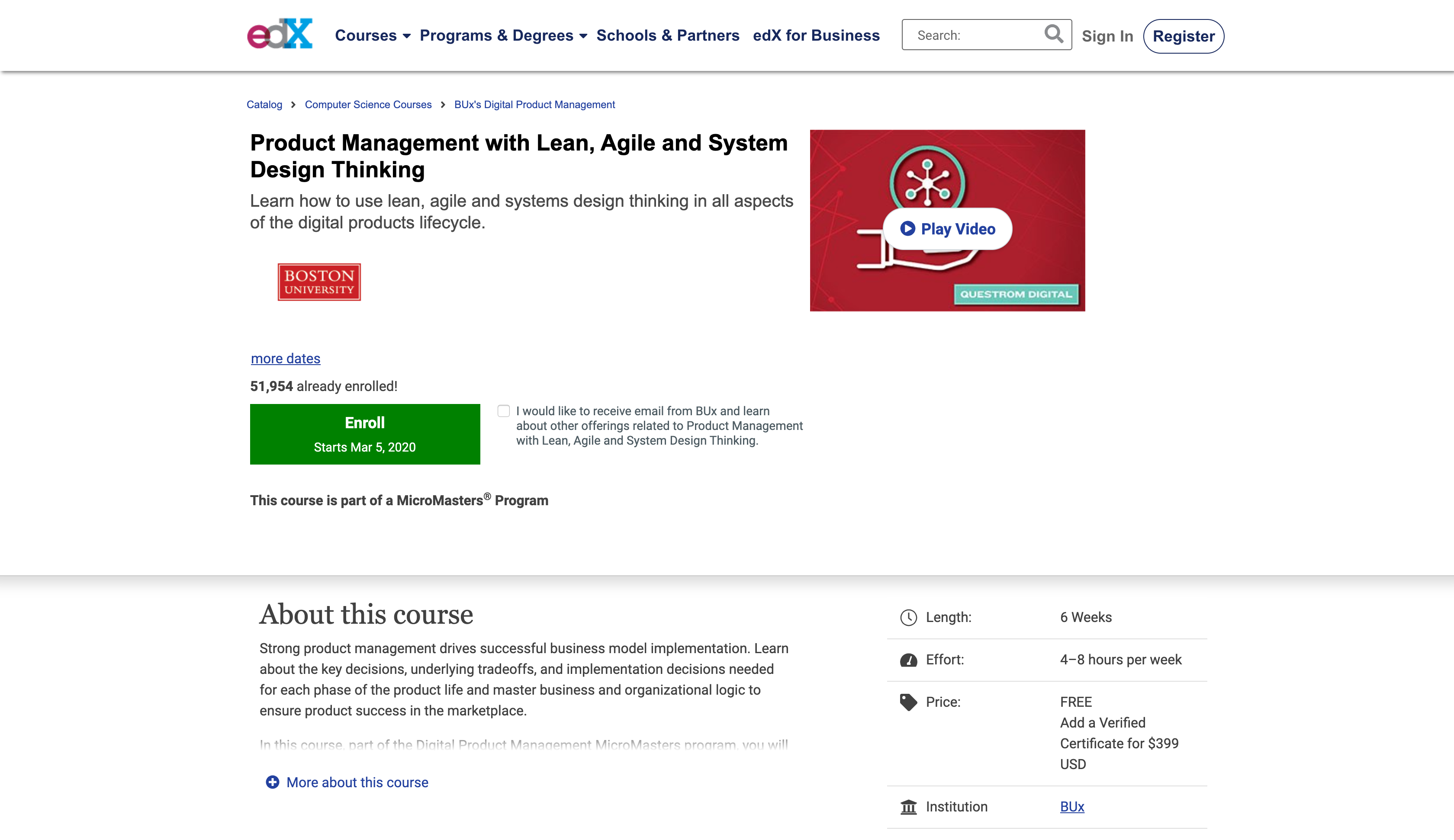 Product Management Certification with Lean, Agile and System Design Thinking (edX)