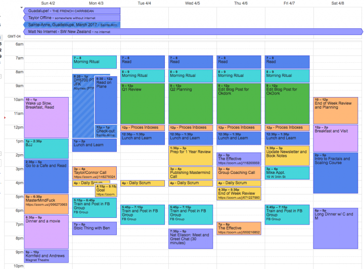 time management calendar in product management