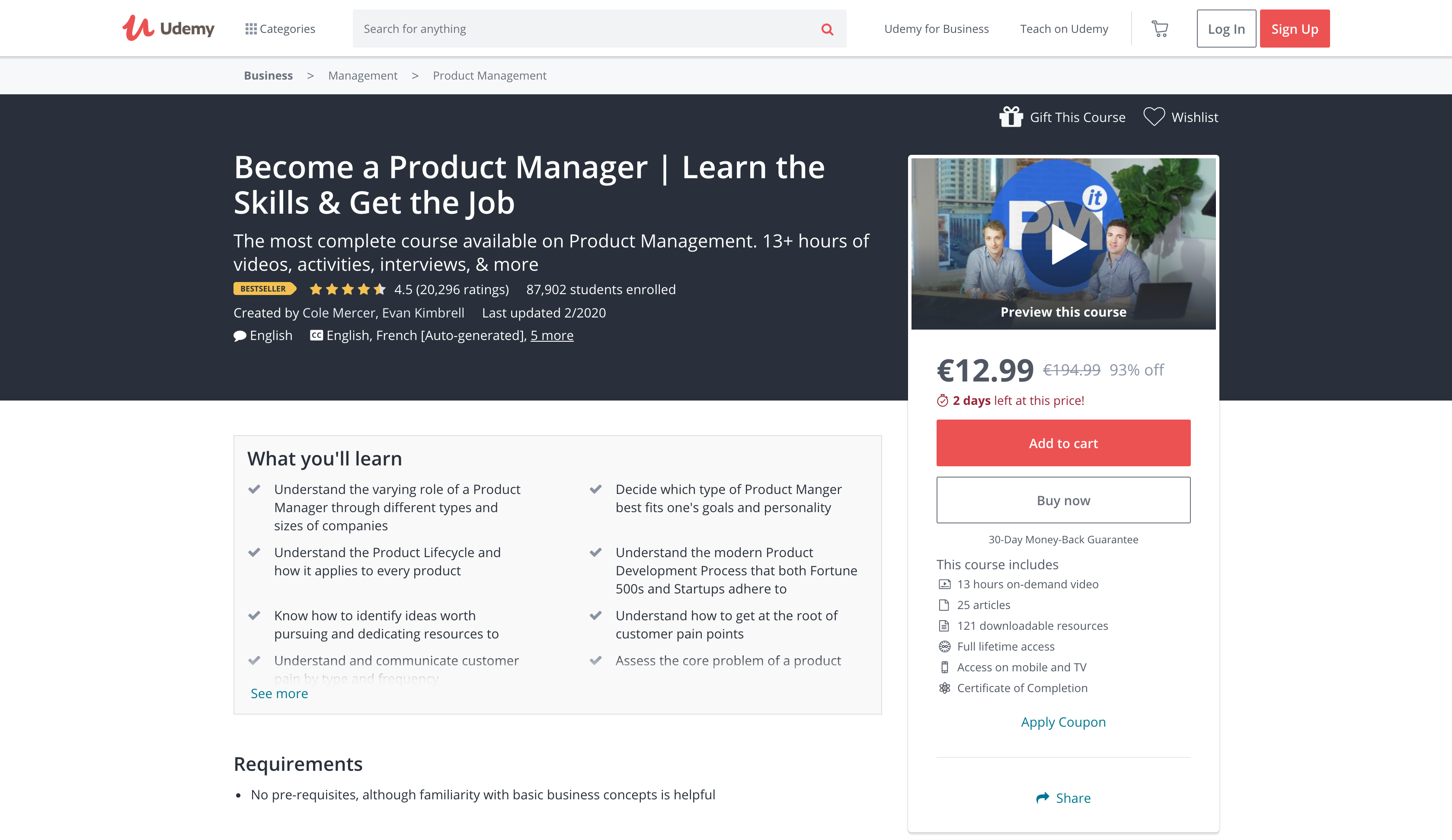 Become a Product Manager Course — Learn the Skills & Get the Job (Udemy)