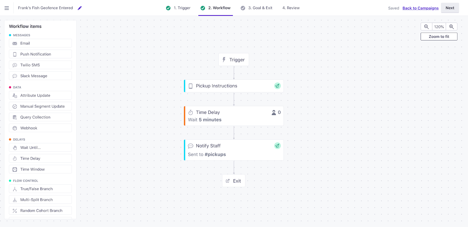 Customer.io workflow preview screen