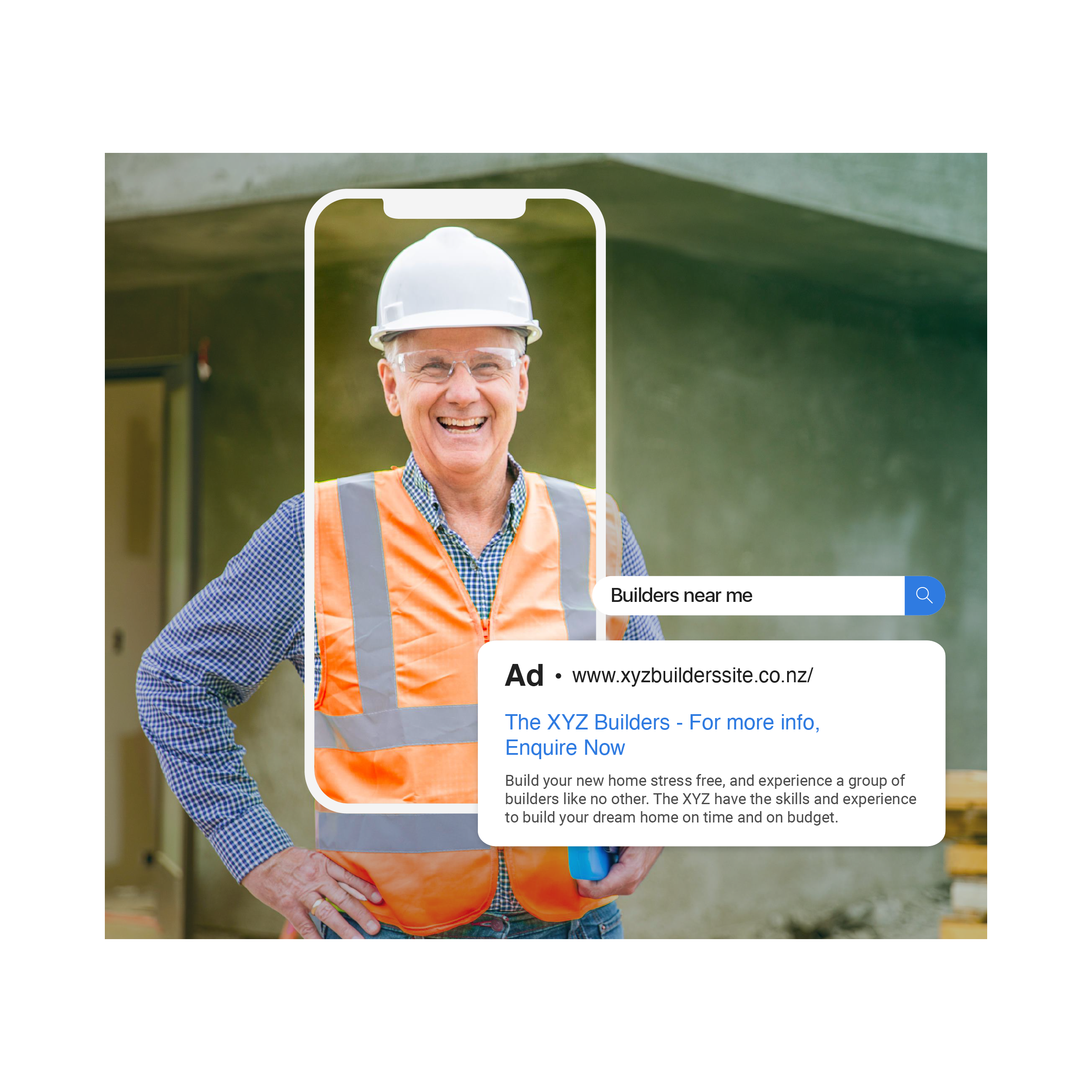 A construction manager in a hi-vis with a browser showing an example of Google Search Ads result.