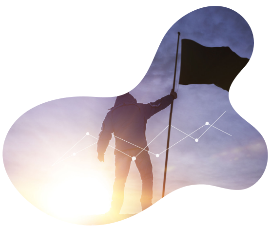 Silhouette of man holding flag with bright sun light behind him, graph mapping overlay