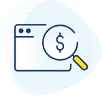 Icon with a web browser and a magnifying glass, with dollar symbol.