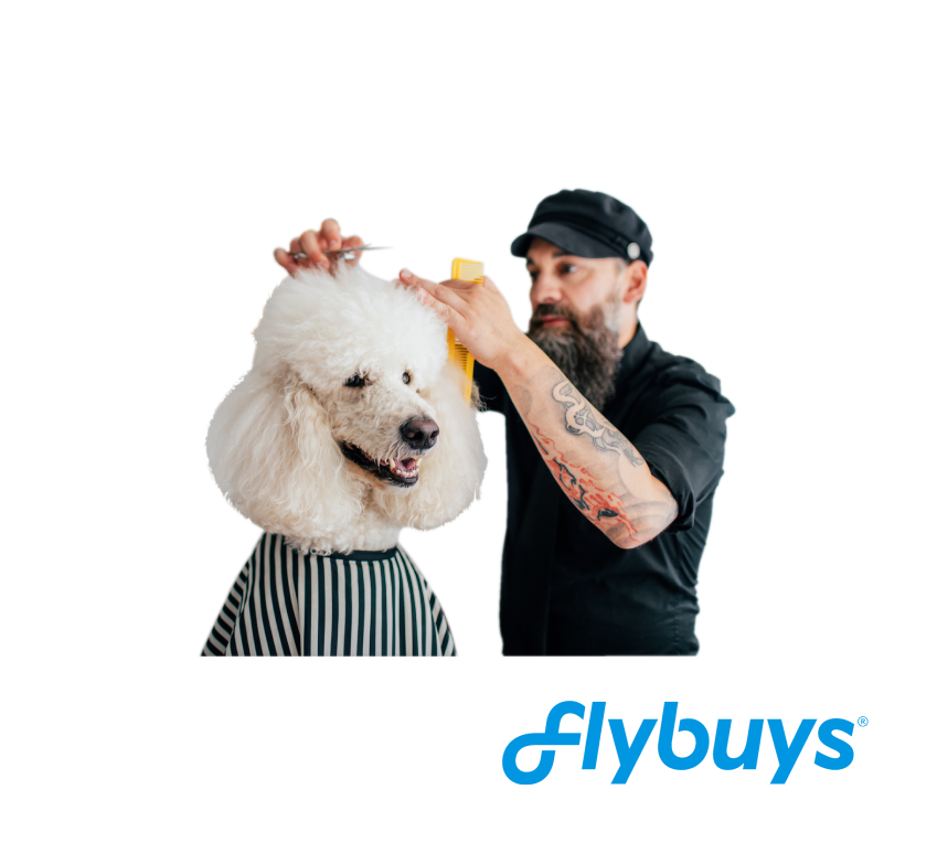 "Picture of a poodle getting a hair cut by a barber. The words ""Flybuys"" underneath."
