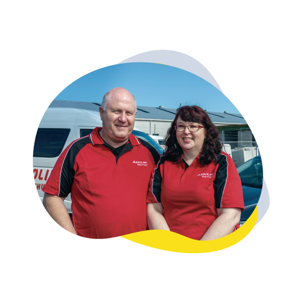 Image of Dave Orr and Heather Logie from Aerolink Shuttles – Waikato Yellow Book 2019