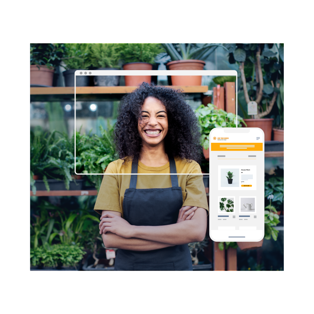 Woman smiling at the camera with arms crossed in front of plants, and a phone showing an online store.