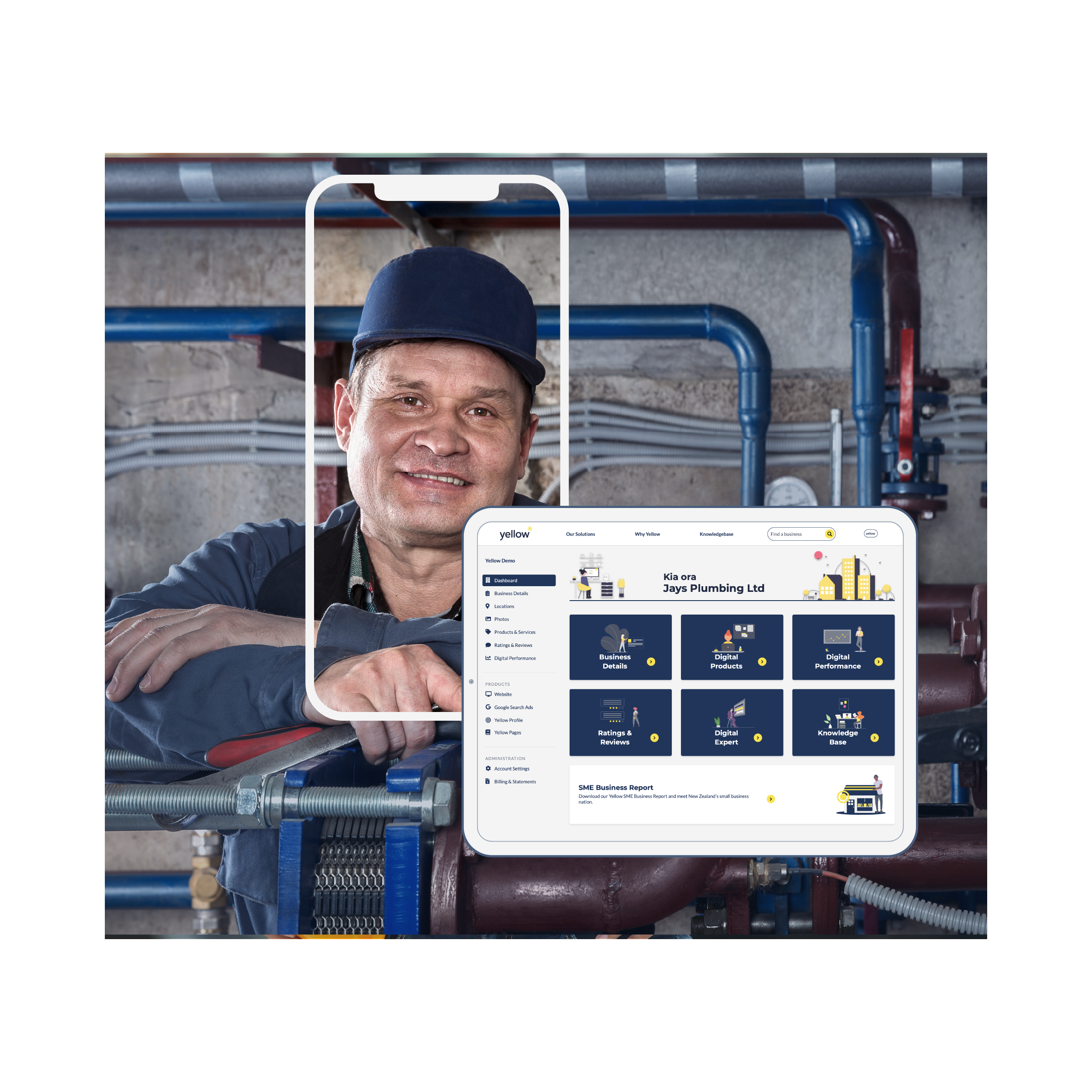 Middle-aged man smiling at the camera with a tablet showing the layout of a Digital Dashboard.