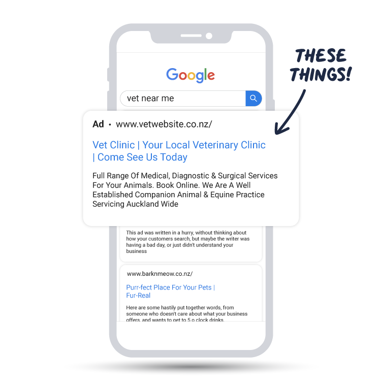 "A smartphone showing what a Google Search would look like, and an Ad popping out with an arrow pointing to the Ad saying ""THESE THINGS!""."