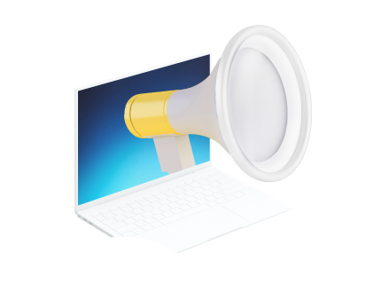Icon of a laptop with a loudspeaker coming out of screen.
