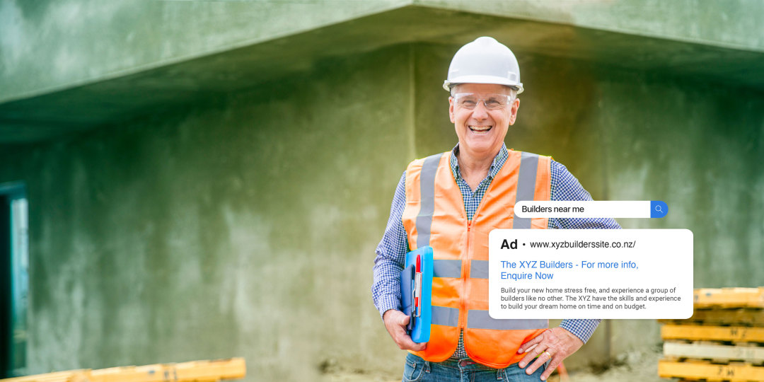 A man standing onsite at a construction site, with an example of his business on a Google Search Ad result.