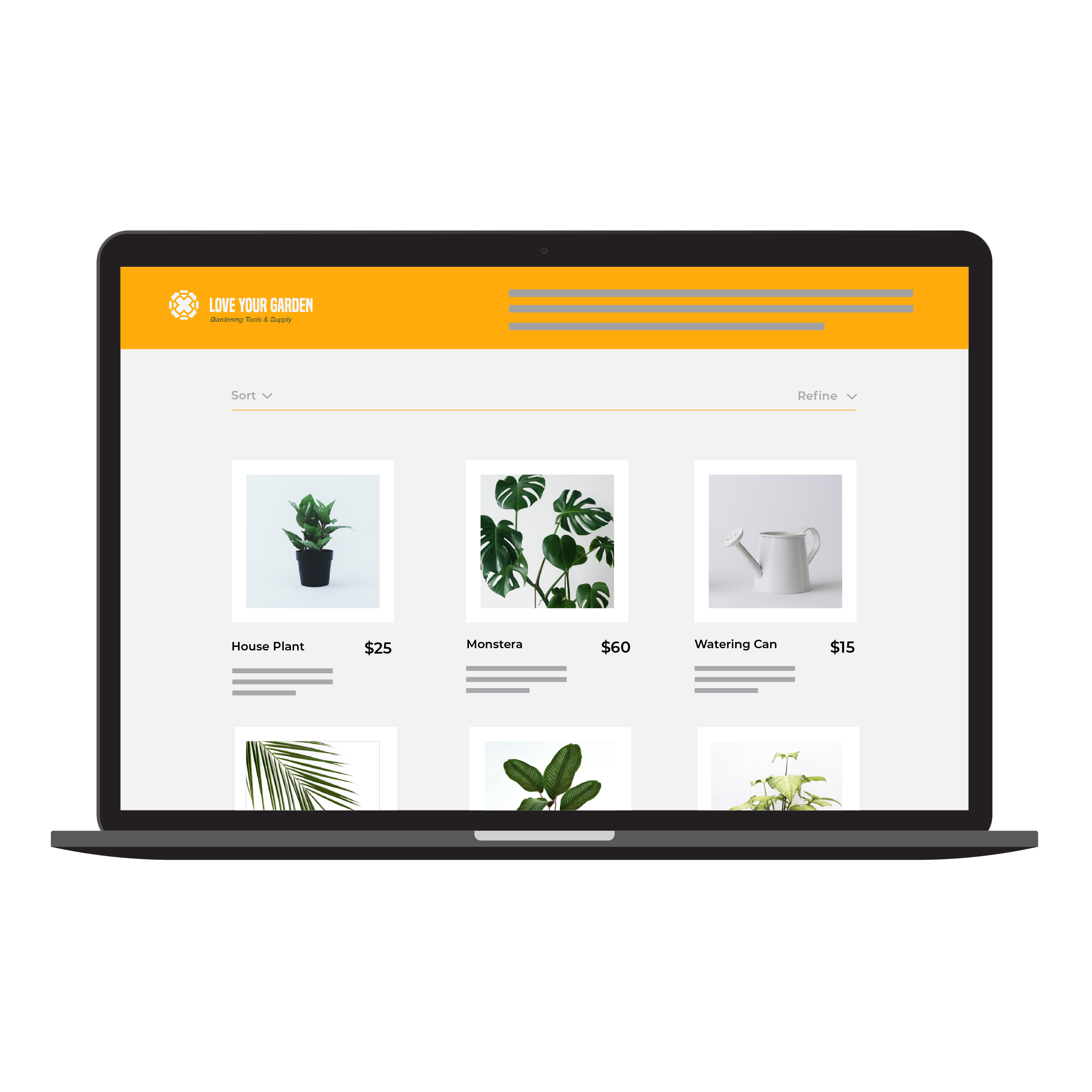 A laptop showing an Online Store example, selling plants.