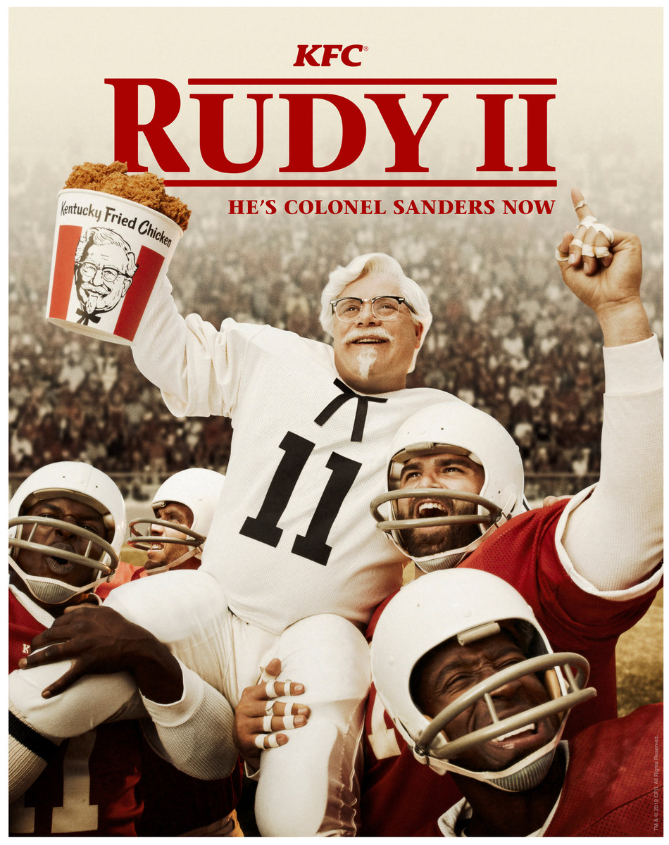 "KFC US KICKS OFF FOOTBALL SEASON WITH A NEW, UNEXPECTED AD CAMPAIGN ""RUDY II"" - A COLONEL SANDERS SEQUEL TO THE CLASSIC FILM"