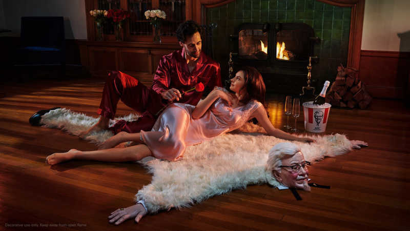 KFC U.S. CREATED A FAUX BEARSKIN RUG THAT LOOKS LIKE COLONEL SANDERS FOR VALENTINE'S DAY