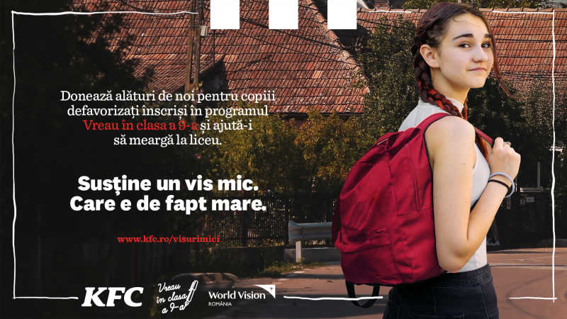 KFC AND PIZZA HUT ROMANIA IN PARTNERSHIP WITH WORLD VISION, SUPPORT, FOR THE 12TH CONSECUTIVE YEAR, THE
