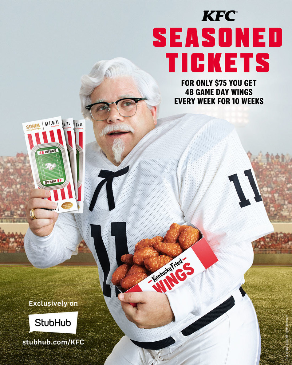 "KFC PARTNERS WITH STUBHUB TO OFFER ""SEASONED TICKETS"" PACKAGES THAT DELIVER GAME DAY WINGS TO YOUR DOOR"