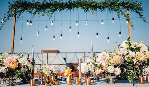Wedding reception with flowers and candles