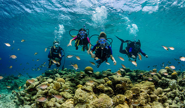 Scuba diver swimming with tropical fish