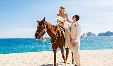 Bride riding a horse on the beach
