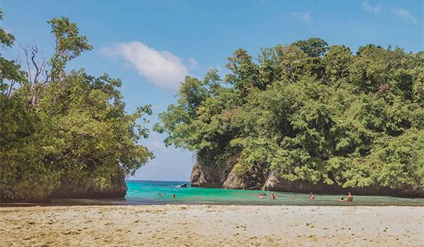 Private beach area with a serene cove