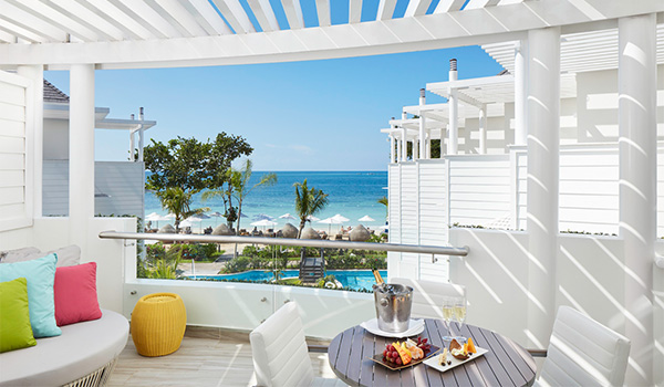 View of Negril Beach from terrace of swim-out suite