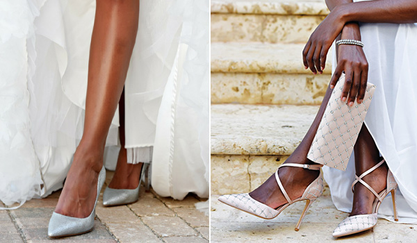 Bride wearing high-heeled shows and a wedding dress