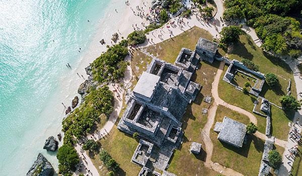 Aerial view of Mayan ruins