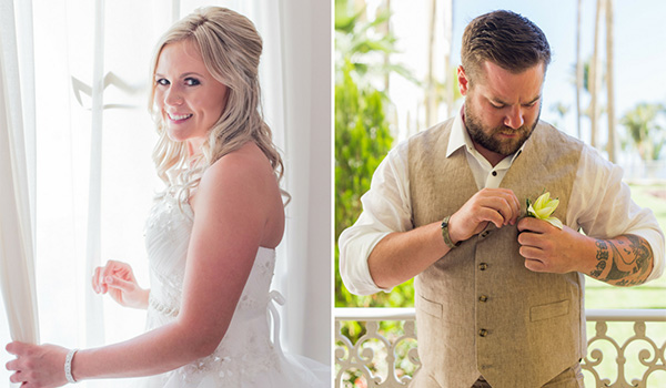 Picture of the bride wearing her wedding dress on the left, and picture of the groom wearing his suit on the right