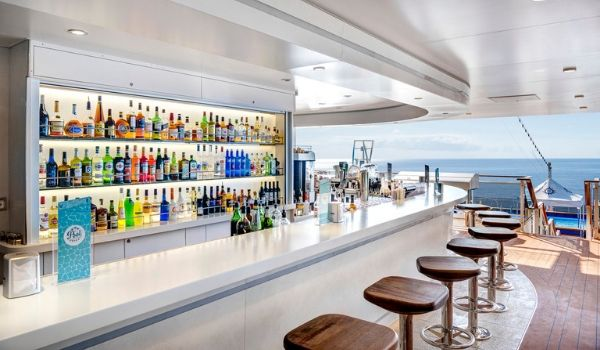 Bar on board the ship with views of the ocean