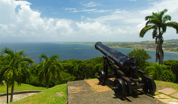 Two cannons on a hilltop overlooking Tobago's coast