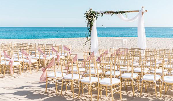Wedding ceremony on the beach overlooking the ocean