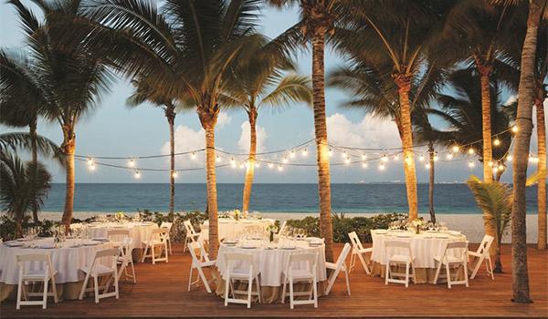 Wedding reception on the beach at night