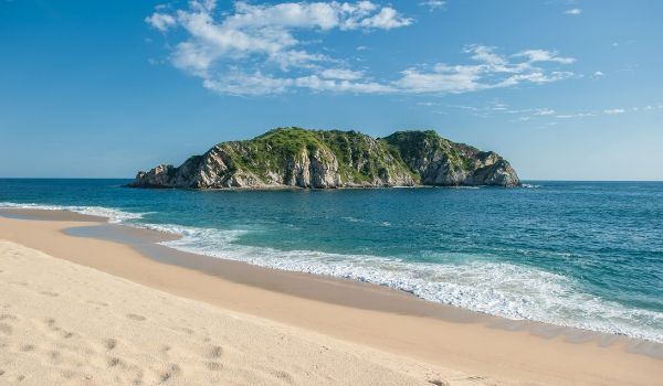 Beautiful beach at Huatulco Bay