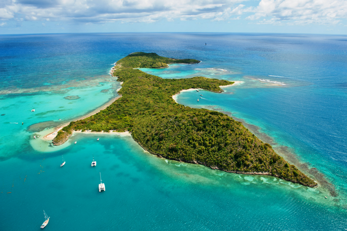 Lush 'desert' island surrounded by sailboats and coral reefs