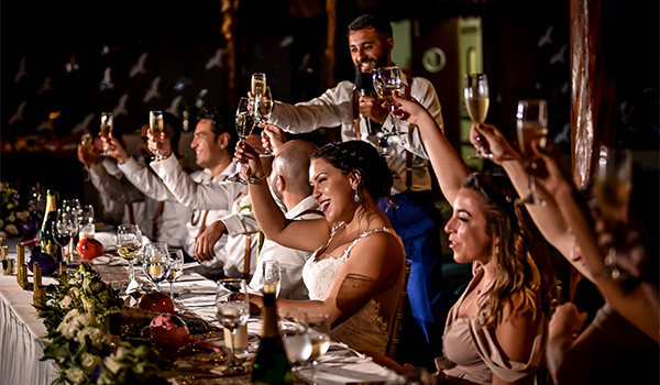Bride and groom sitting at a dinner table with their friends